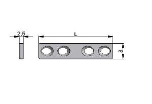 Płytka drobna 8,0 x 2,5mm samodociskowa pod wkręty Ø2,7mm
