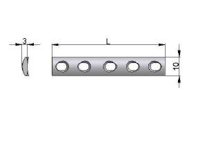 Płytka drobna 10,0 x 3,0mm samodociskowa z otworami kulistymi pod wkręty Ø3,5mm i Ø4,0mm