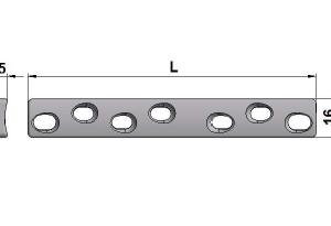 Płytka szeroka samodociskowa 16,0 x 5,0mm z otworami kulistymi z ograniczonym kontaktem pod wkręty Ø4,5mm