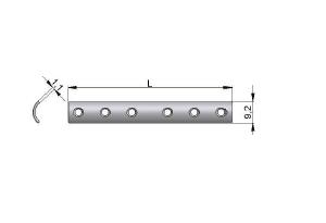 Płytka rynnowa 1/3 z otworami pod wkręty Ø 3,5mm i Ø4,0mm